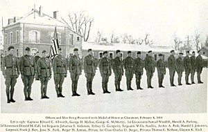 Edward Allworth - Medal of Honor Presentation Ceremony - February 9, 1919, at Chaumont, France.  General John J. Pershing presided.