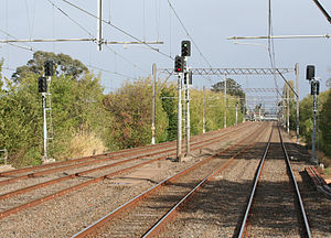 Rail Safety Act - Safety regulation of railways includes oversight of the condition and operation of rails and signals.  The picture shows a section of quadruple track near Caulfield station in Melbourne, showing signalling and overhead wiring.