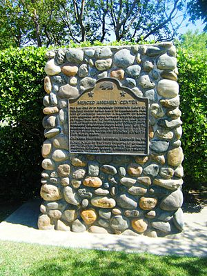 Merced, California - A plaque marking the site of the Merced Assembly Center