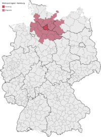 location of the Hamburg Metropolitan Region in Germany