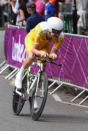 Michael Rogers (cyclist) - Rogers competing in the London 2012 Men's Olympic Time Trial.