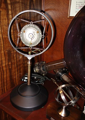 History of sound recording - Ring-and-spring microphones, such as this Western Electric microphone, were common during the electrical age of sound recording c. 1925-1945