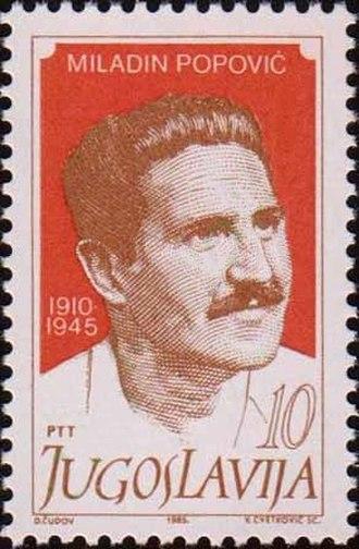 Miladin Popović - Yugoslav postage stamp, 1985.