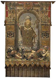 È un arazzo realizzato intorno al 1565 dai ricamatori Scipione Delfinone e  Camillo Pusterla su disegno di Giuseppe Arcimboldi e Giuseppe Meda. 8dc9ecd8690