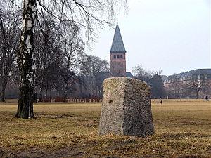 Øster Allé - The quarter milestone with St. Augustin's Church on Jagtvej as a backdrop