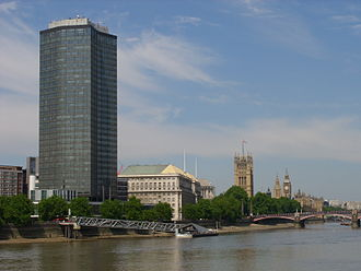 Millbank - Millbank Tower from Vauxhall, with Thames House and the Palace of Westminster visible in the background.