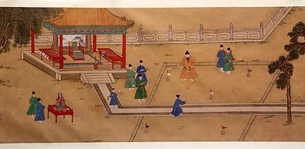 The Xuande Emperor playing chuiwan with his eunuchs, a game similar to golf, by an anonymous court painter of the Xuande period (1425-35). Ming Emperor Xuande playing Golf.jpg
