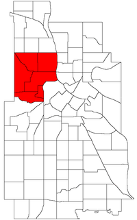Location of Near North within the U.S. city of Minneapolis