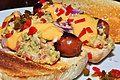 Mmm...hot dogs with mustard relish and cheese sauce (4690675763).jpg