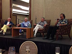"""Victor Bahl - """"Pioneers of Wireless Networking"""" panel celebrating 20 years of MobiCom.  From left to right, SIGMOBILE Outstanding Contributions winners: Randy Katz, David Goodman, Len Kleinrock, and Victor Bahl."""