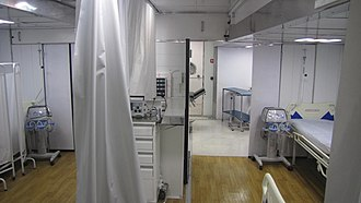 Mobile hospital - inside of mobile hospital, hospitalization and diagnosis section