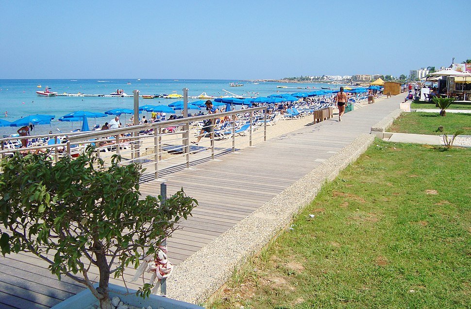 Modern new pedestrian seaside road next to Protaras beach in Paralimni