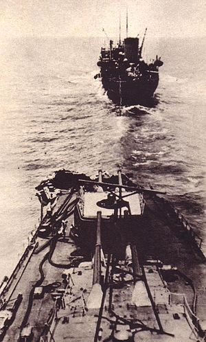 Japanese cruiser Mogami (1934) - Bridge view of Mogami's damaged bow, following her collision with Mikuma at Midway. The tanker Nichiei Maru is seen ahead.