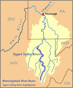 Monongahela River Map Tygart Valley River   Wikipedia
