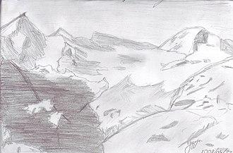Mont Durand Glacier - Mont Durand Glacier, drawing by Jasmin Nelly Weidmann