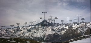 Monte Viso - Panoramic view of Monviso with the main peaks