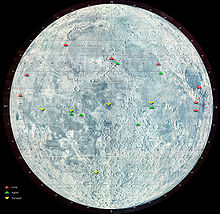 A representation of the Moon, with a cluster of green triangles indicating the Apollo landing sites
