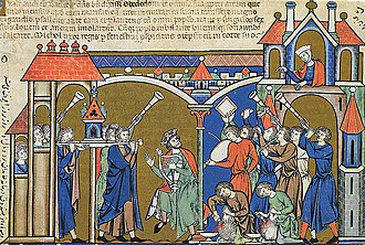 Ark of the Covenant - Illustration from the 13th century Morgan Bible of David bringing the Ark into Jerusalem (2 Samuel 6).