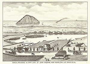 Morro Bay, California -  View of Morro Rock in 1883, from what is now The Cloisters subdivision in north Morro Bay. The shoreline is now Morro Strand State Beach.