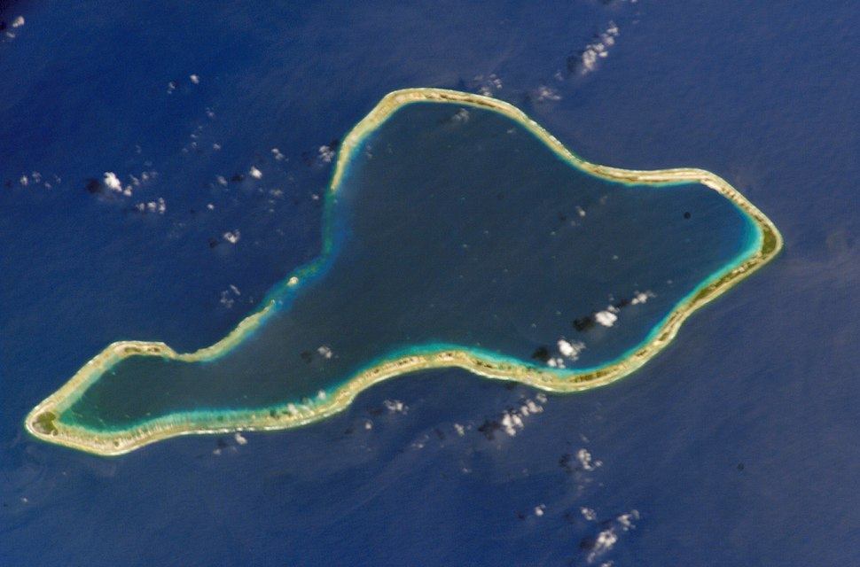 Luftbild des Moruroa-Atolls