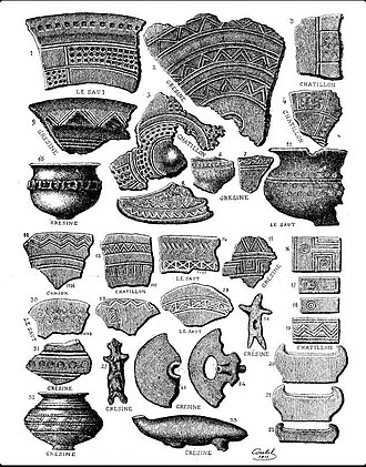 Prehistoric pile dwellings around the Alps - Image: Motifs poteries palafittes lac du Bourget