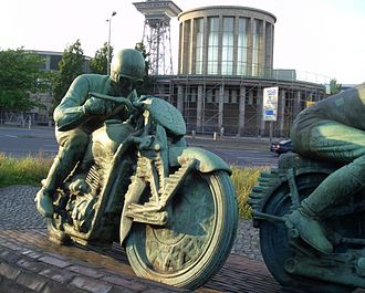 "Ewald Kluge - ""Motorradfahrer"", a monument to two motorcyclists. This one is Kluge on a DKW."