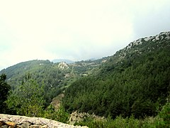 Mount al-Nisr, overlooking Ekizolukh (Nab'ain) village, south of Kessab, Syria.jpg