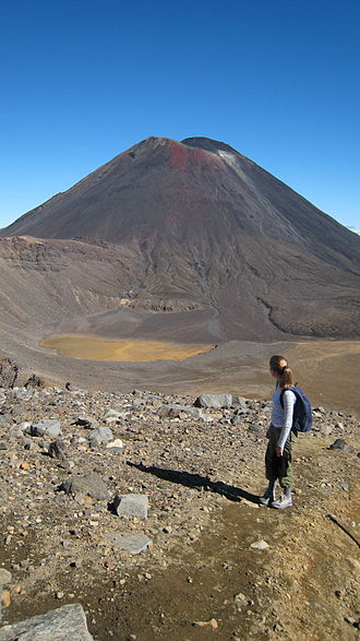 Mount Ngauruhoe - Ngauruhoe seen from across Tongariro's South Crater. The usual route up the mountain is visible on the right.