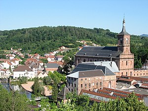 Moyenmoutier - View of the town center and Moyenmoutier Abbey