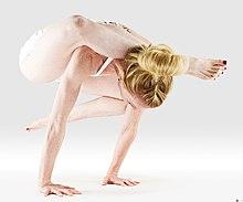 220px Mr yoga foot behind head crow pose yoga asanas Liste des exercices et position à pratiquer