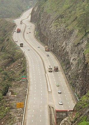 Mumbai Pune Expressway - The Mumbai-Pune Expressway as seen from Khandala, Pune district