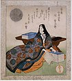 Murasaki Shikibu, from Four Companions of the Writing Studio of the Ichiyo Circle, by Yashima Gakutei, Japan, Edo period, c. 1827 AD, woodblock print - Sackler Museum - Harvard University - DSC01706.jpg