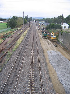 Muswellbrook railway station - Image: Muswellbrook Railway Yard From Bell St