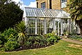 Myddelton House, Enfield, London ~ conservatory and flower bed 01.jpg