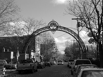 Wooster Square - Wooster Street archway decorated with an Cherry Blossom tree, a symbol of New Haven