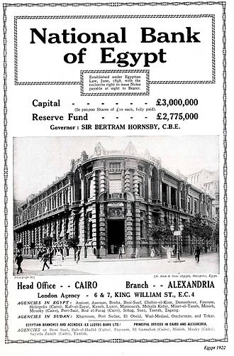 National Bank of Egypt - an old advertisement for the National Bank of Egypt.