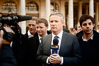 Nicolas Dupont-Aignan - NDA during an interview with BFM TV in front of the Constitutional Council