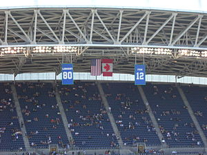 Steve Largent - Banners of Largent and the 12th Man hang over CenturyLink Field.