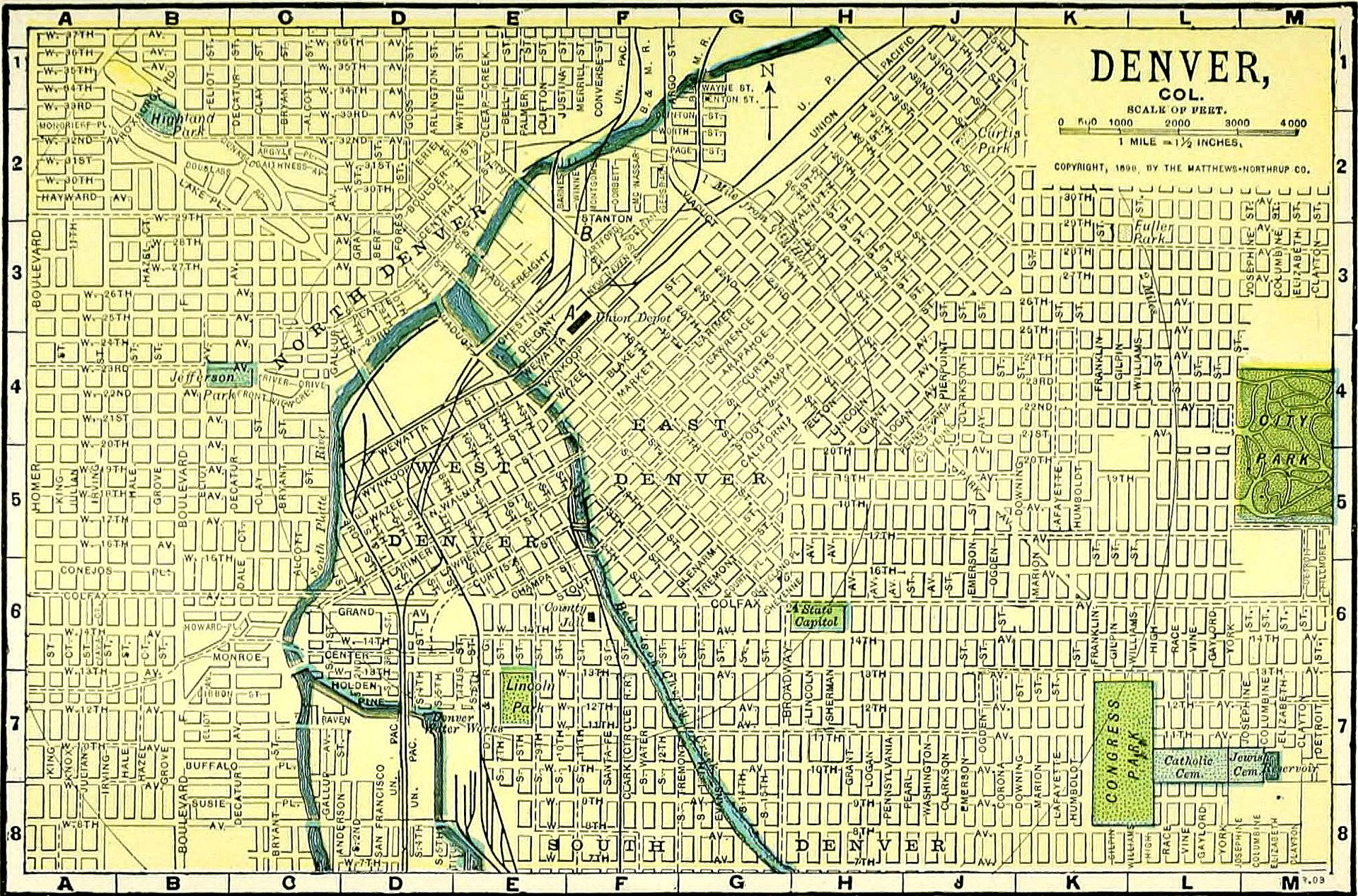 This is an old map of Denver but still shows the wonky 45 degree layout of Denver downtown streets.