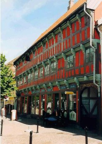 Randers - The half-timbered mechants house Niels Ebbesen's Gaard from 1643. Now a restaurant.