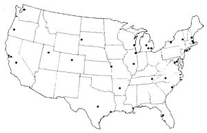 Nationwide Urban Runoff Program - Map showing locations of 28 NURP projects