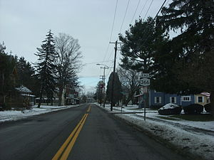 New York State Route 366 - NY 366 approaching the eastern terminus at NY 38 in Freeville