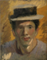 NakamuraTsune-1911-Self-Portrait with a Straw Hat-2.png