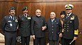 Narendra Modi with the Lt. General (Retd.) JFR Jacob, the Chief of Army Staff, General Dalbir Singh, the Chief of Naval Staff, Admiral R.K. Dhowan and the Chief of the Air Staff, Air Chief Marshal Arup Raha, in New Delhi.jpg