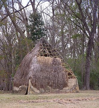 Natchez people - A modern reconstruction of a traditional Natchez dwelling at the Grand Village of the Natchez in Adams County, Mississippi