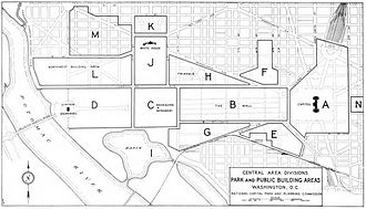 Independence Avenue (Washington, D.C.) - Planning map of the National Mall in 1932, showing the western terminus of South B Street still at 14th Street SW.