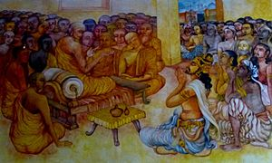 Buddhist councils - Asoka and Moggaliputta-Tissa at the Third Council, at the Nava Jetavana, Shravasti