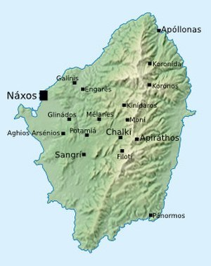 Siege of Naxos (499 BC) - Map of Naxos, showing the eponymous main city