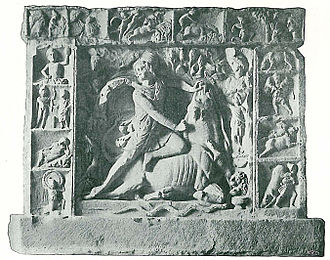 Mithraism - Relief of Mithras as bull-slayer from Neuenheim near Heidelberg, framed by scenes from Mithras' life.