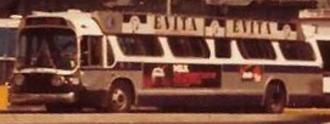 Evita (musical) - A bus in New York featuring an Evita advertisement in 1982.